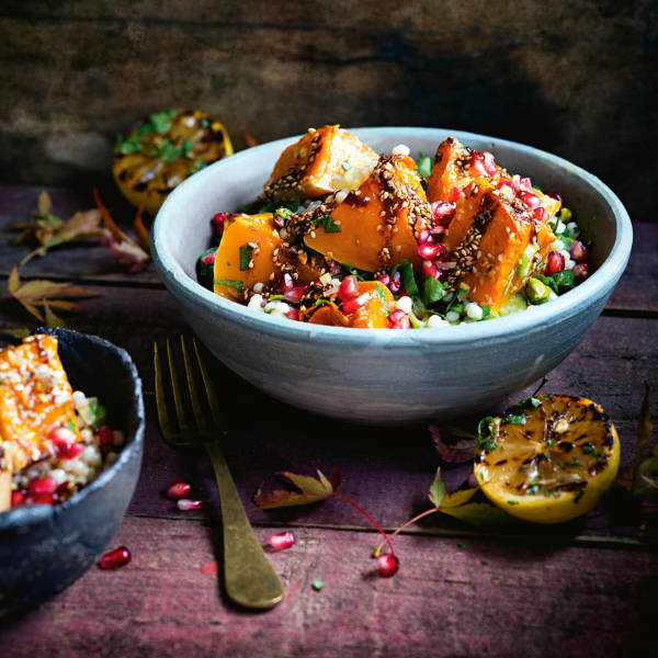 Roast Pumpkin With Pearl Couscous Pomegranate Recipe Woolworths