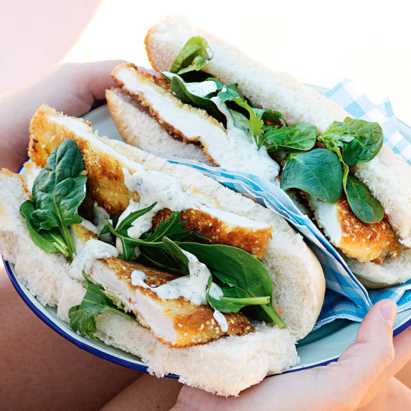 Chicken Schnitzel Rolls With Tahini Parsley Sauce Recipe Woolworths