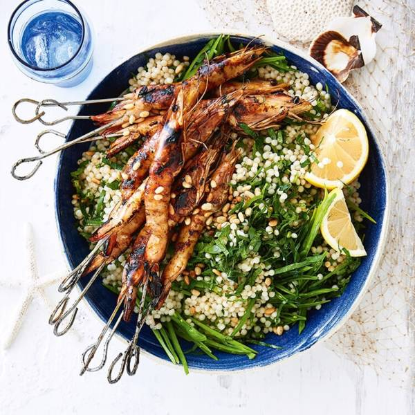 Grilled Banana Prawns With Honey And Pearl Couscous Salad Recipe Woolworths