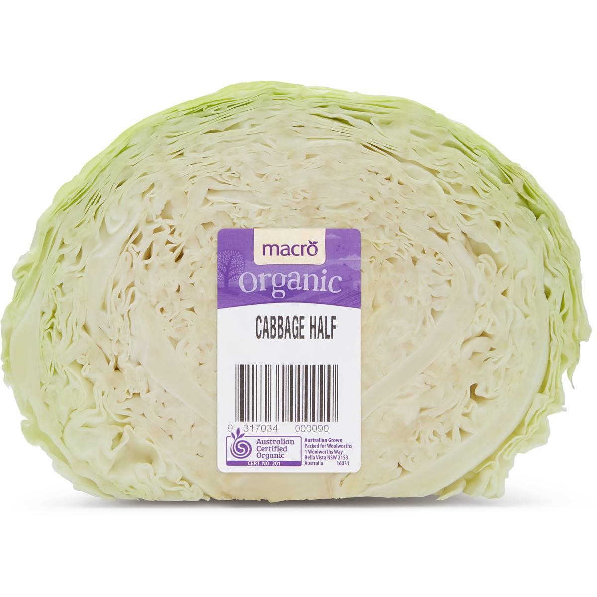 Cabbage Organic Green Half