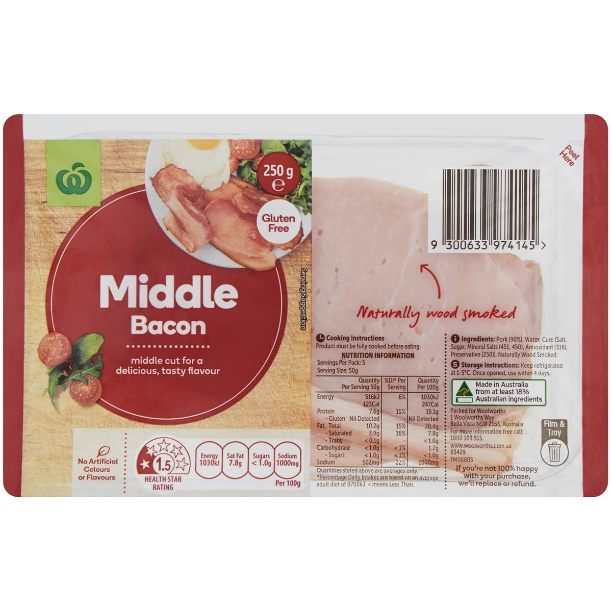Essentials Bacon Middle Cut Rashers