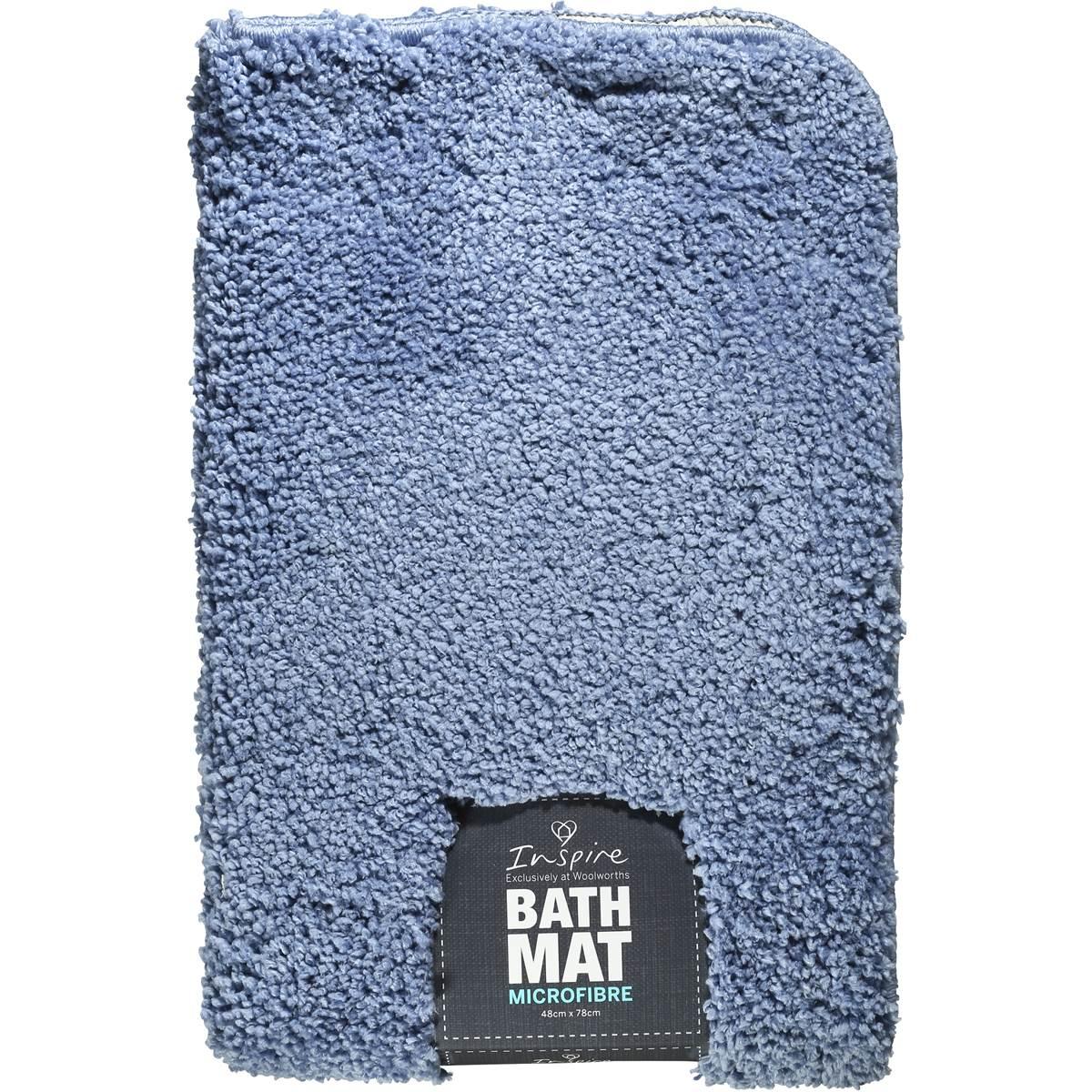 Woolworths Home Essentials Bath Mat Microfibre Blue 48x78cm Each Woolworths