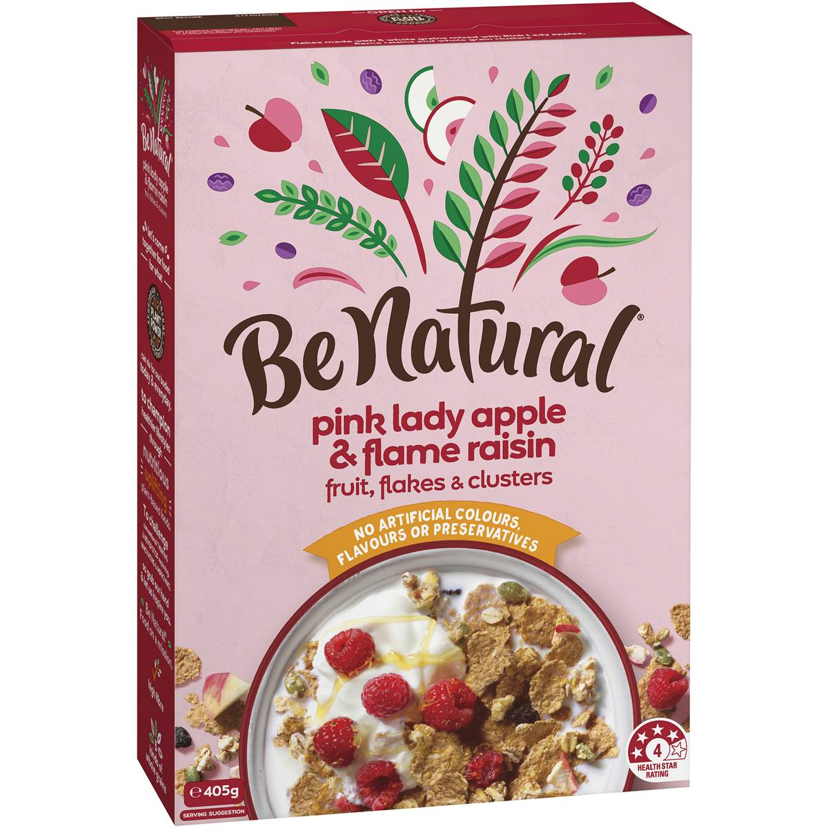 Be Natural Breakfast Cereal With Pink Lady Apple & Flame Raisins