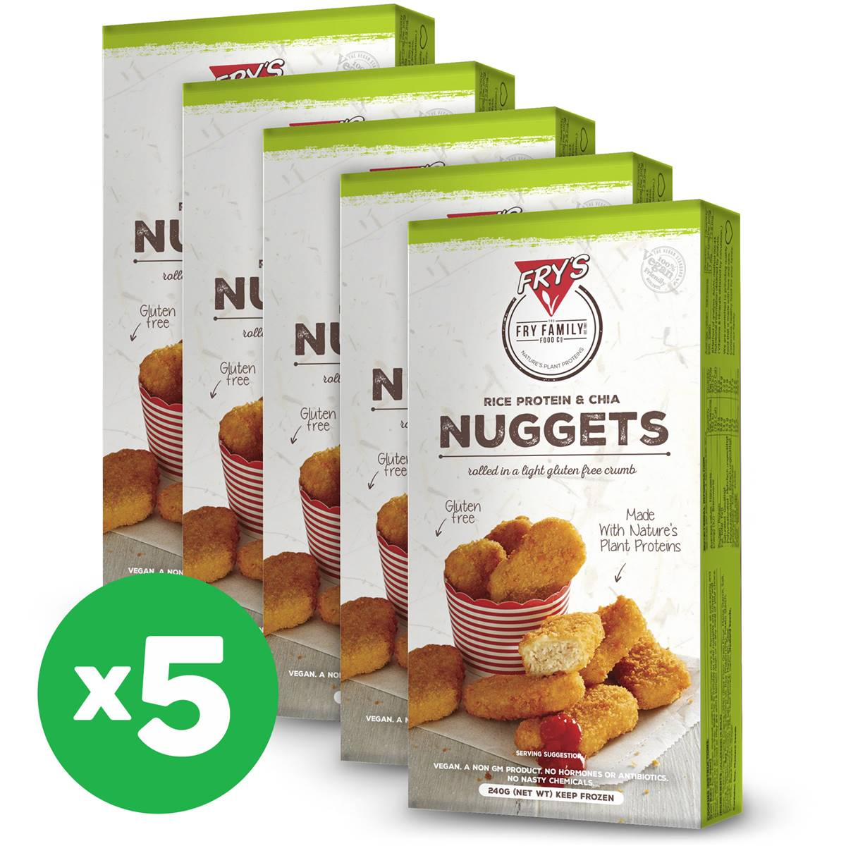 Fry's 'meat Free' Nuggets With Rice Protein & Chia 240g X5