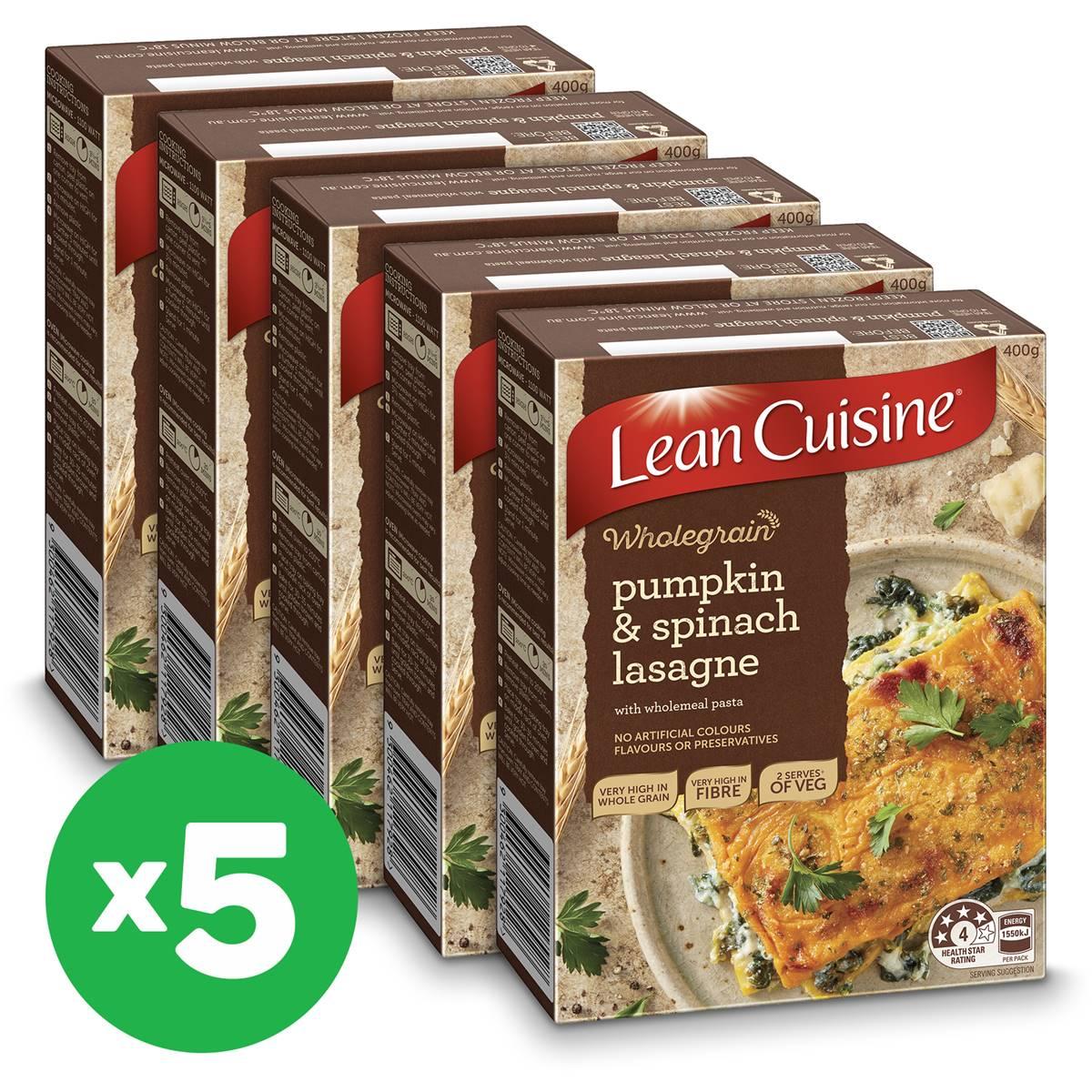 Lean cuisine wholegrain pumpkin spinach lasagne 400g x5 for Average price of lean cuisine