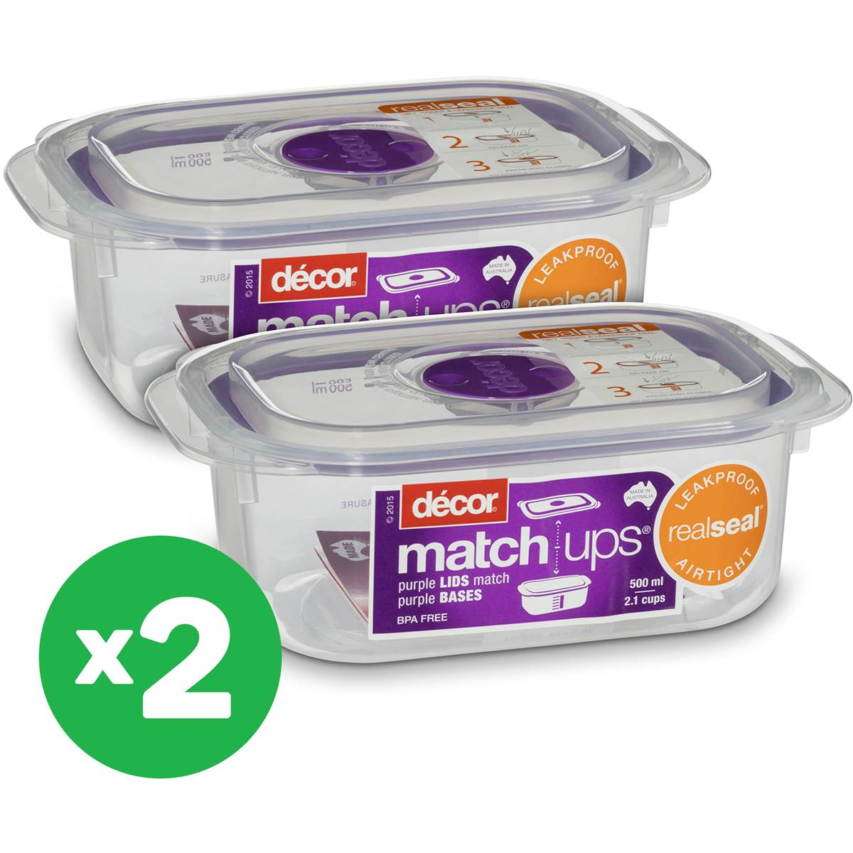 Decor match ups oblong food storage 500ml x2 bundle for Decor 500ml container