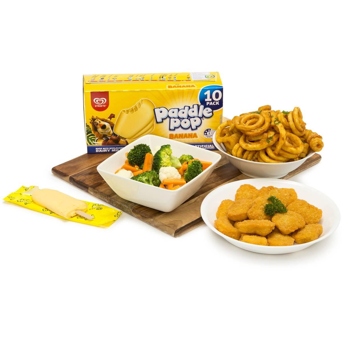 Chicken Nuggets, Curly Fries, Veggies & Banana Paddlepop