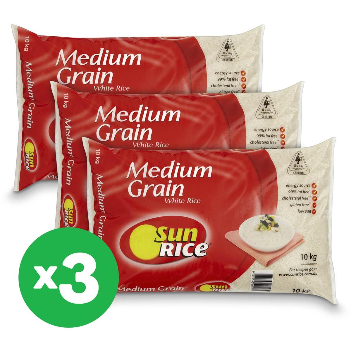 Sunrice White Medium Calrose Grain Rice 10kg X3k Bundle