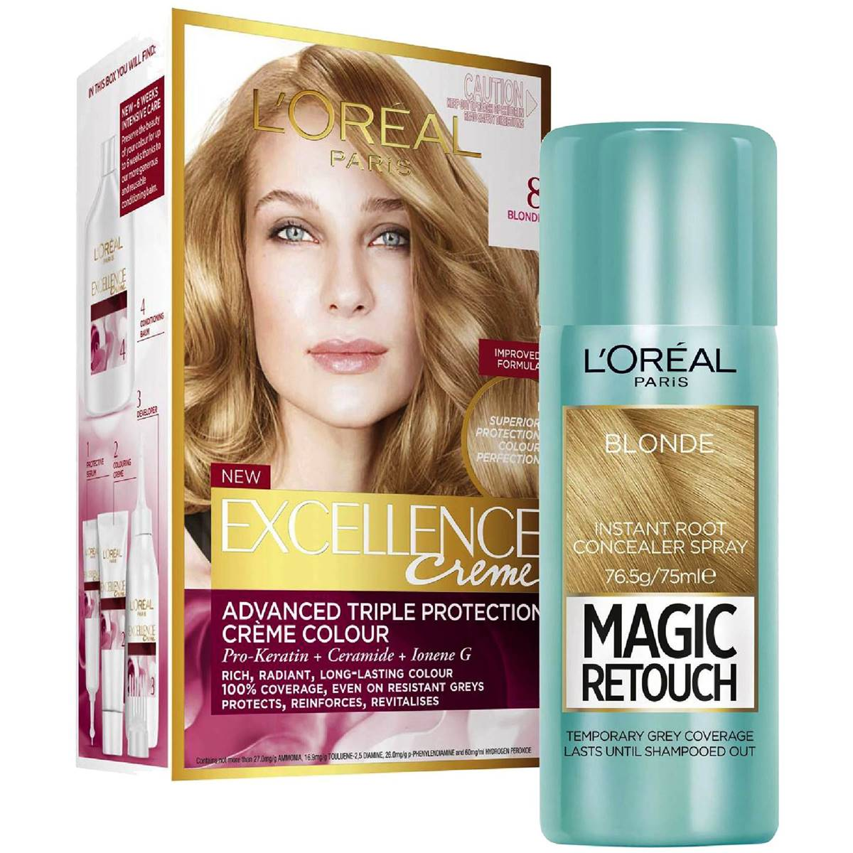 L'oreal Excellence Blonde Hair Dye And Root Retouch Bundle