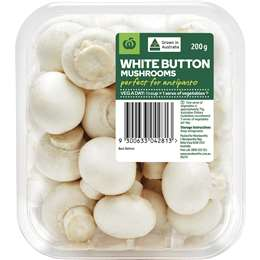 mushrooms button 200g punnet woolworths