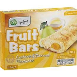 Woolworths Select Fruit Bars Custard & Banana 6pk 225g