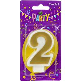 Party Candle Metallics Number 2 Each