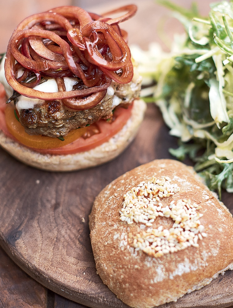 Italian Super-Food Burgers, Balsamic Onions, Mozzarella and Slaw Recipe