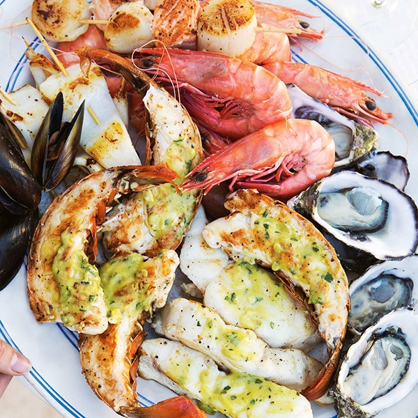 Barbecued Seafood With Herb Avocado Butter